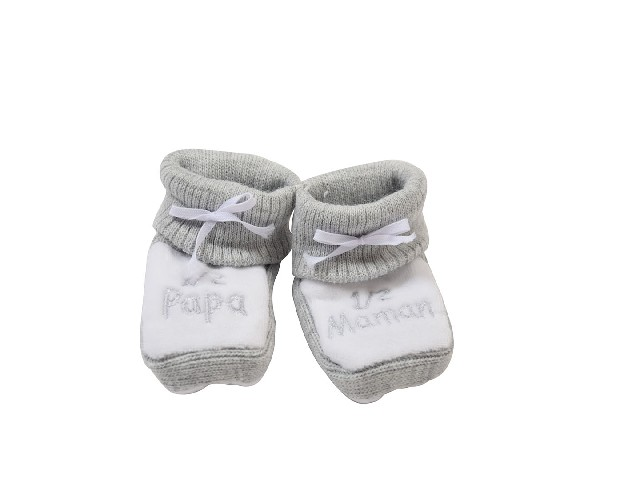 CHAUSSONS TRICOT BRODE 1/2 PAPA 1/2 MAMAN GRIS/BRODE GRIS