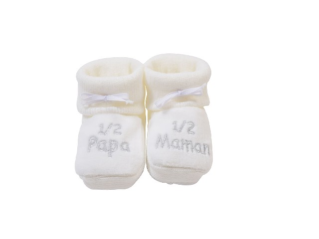 CHAUSSONS TRICOT BRODE 1/2 PAPA 1/2 MAMAN BLANC/BRODE GRIS