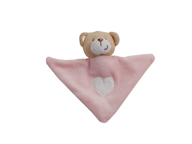 DOUDOU TRIANGLE BRODE OURS LITTLE BEAR ROSE 11X19 CM
